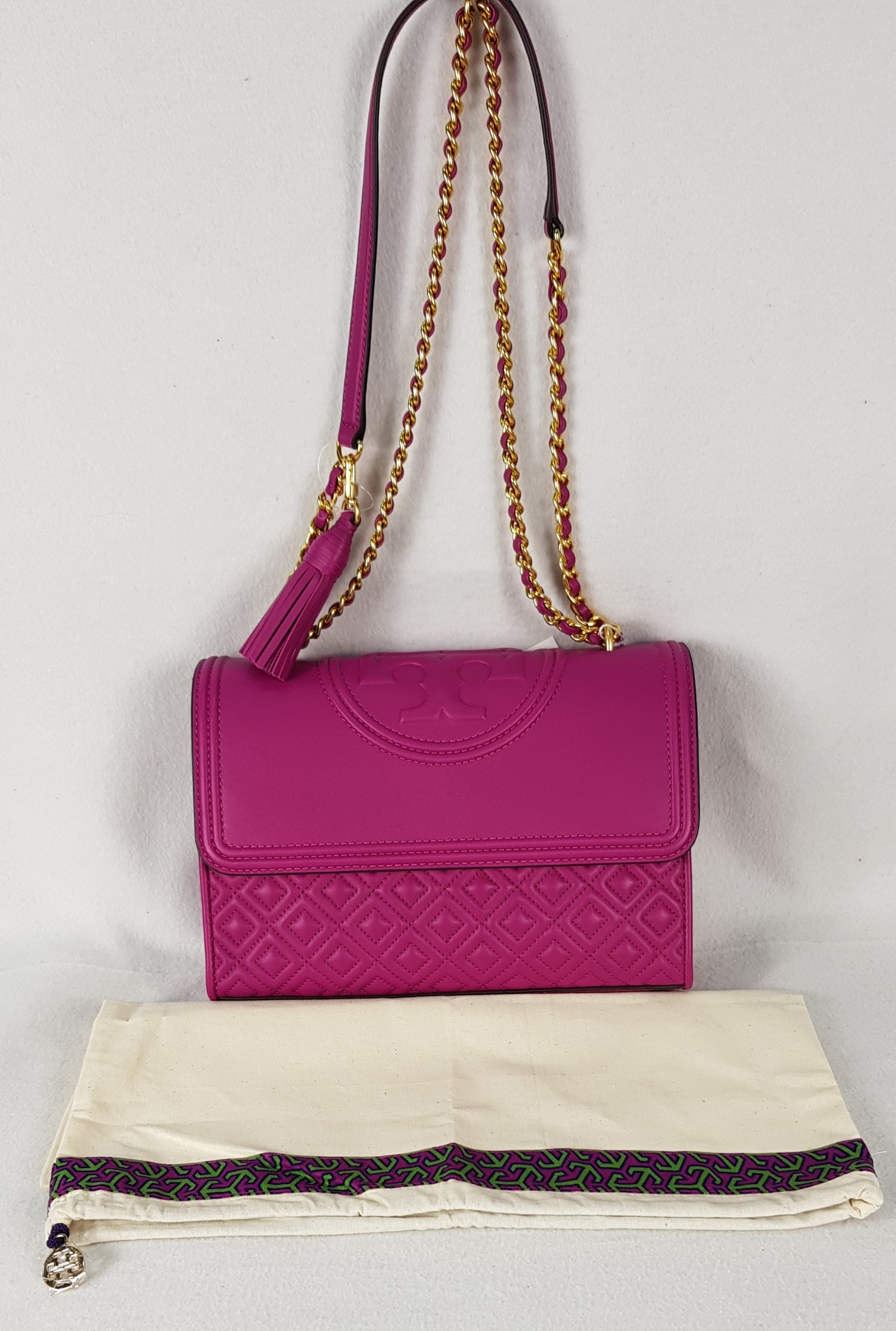6b4e44bca7d6 TORY BURCH FLEMING CONVERTIBLE SHOULDER BAG PARTY FUCHSIA